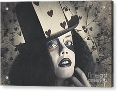 Vintage Queen Of Hearts Wearing Poker Card Acrylic Print by Jorgo Photography - Wall Art Gallery