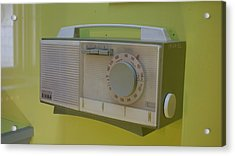Acrylic Print featuring the photograph Vintage Radio With Lime Green Background by Matthew Bamberg