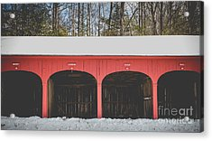 Vintage Red Carriage Barn Lyme Acrylic Print by Edward Fielding