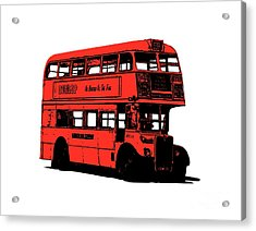 Vintage Red Double Decker London Bus Tee Acrylic Print by Edward Fielding