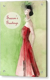 Vintage Red Dress Fashion Holiday Card Acrylic Print by Beverly Brown