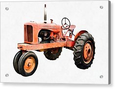 Vintage Red Tractor Painting Acrylic Print by Edward Fielding