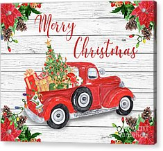 Vintage Red Truck Christmas-a Acrylic Print