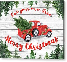 Vintage Red Truck Christmas-b Acrylic Print