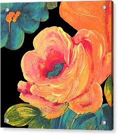 Acrylic Print featuring the painting Vintage Rose On Black by Lisa Weedn