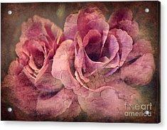 Vintage Roses - Deep Pink Acrylic Print by Judy Palkimas