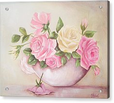 Vintage Roses Shabby Chic Roses Painting Print Acrylic Print