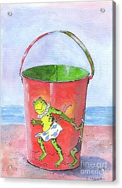 Vintage Sand Pail Dancing Frogs Acrylic Print by Sheryl Heatherly Hawkins