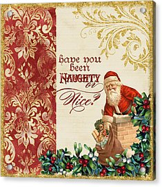 Vintage Santa Claus - Glittering Christmas 1 Acrylic Print