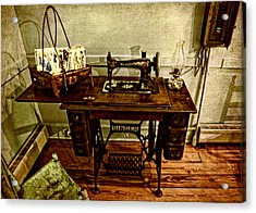 Vintage Singer Sewing Machine Acrylic Print by Judy Vincent