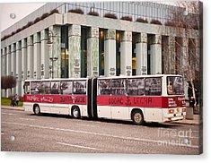 Vintage Solidarnosc Bus On Street Acrylic Print by Arletta Cwalina