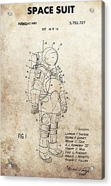 Vintage Space Suit Patent Acrylic Print by Dan Sproul