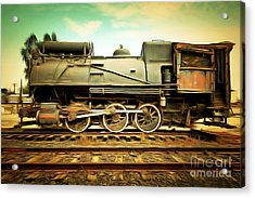 Vintage Steam Locomotive 5d28362brun Acrylic Print by Home Decor