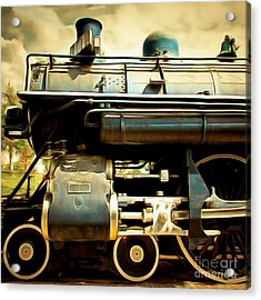 Vintage Steam Locomotive 5d29112brun Sq Acrylic Print by Home Decor