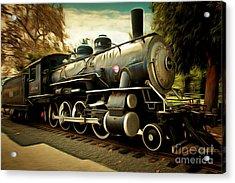 Vintage Steam Locomotive 5d29122brun Acrylic Print by Home Decor