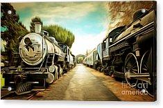 Vintage Steam Locomotive 5d29143brun Acrylic Print by Home Decor