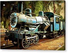 Vintage Steam Locomotive 5d29168brun Acrylic Print by Home Decor