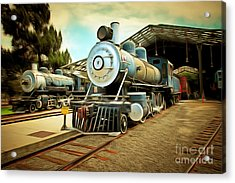 Vintage Steam Locomotive 5d29179brun Acrylic Print by Home Decor
