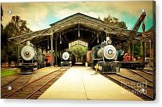 Vintage Steam Locomotive 5d29186brun Acrylic Print by Home Decor