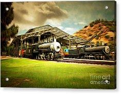Vintage Steam Locomotive 5d29279brun Acrylic Print by Home Decor