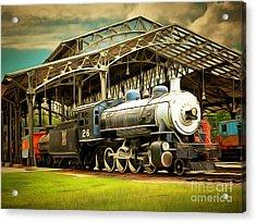 Vintage Steam Locomotive 5d29281brun Acrylic Print by Home Decor