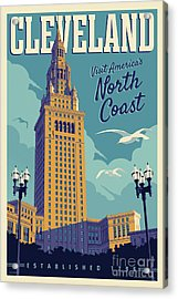 Vintage Style Cleveland Travel Poster Acrylic Print