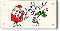 Vintage Style Of Santa Playing Acrylic Print