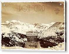 Vintage Style Post Card From Loveland Pass Acrylic Print by Juli Scalzi