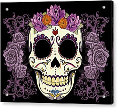 Vintage Sugar Skull And Roses Acrylic Print by Tammy Wetzel
