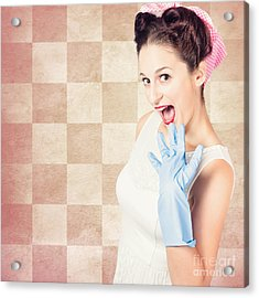 Vintage Surprised Pinup Woman Doing Housework Acrylic Print by Jorgo Photography - Wall Art Gallery