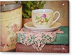 Vintage Teacup Acrylic Print by Cheryl Davis