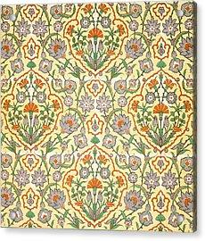 Vintage Textile Pattern Acrylic Print by Emile Prisse d'Avennes