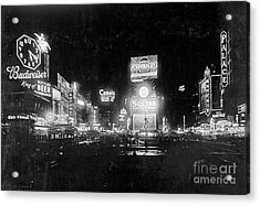 Acrylic Print featuring the photograph Vintage Times Square At Night Black And White by John Stephens