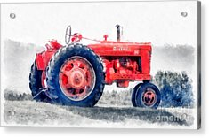Vintage Tractor Watercolor Acrylic Print by Edward Fielding