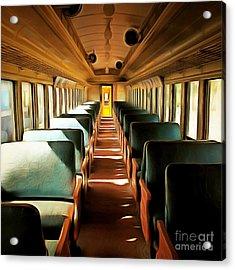 Vintage Train Passenger Car 5d28306brun Square Acrylic Print by Home Decor