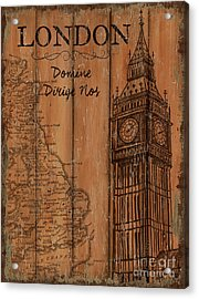 Vintage Travel London Acrylic Print by Debbie DeWitt