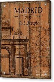 Vintage Travel Madrid Acrylic Print by Debbie DeWitt