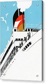 Vintage Travel Poster A Cruise Ship With Passengers, 1928 Acrylic Print