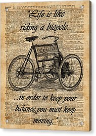 Vintage Tricycle Antique Bicycle Motivational Quote Retro Dictionary Art Acrylic Print