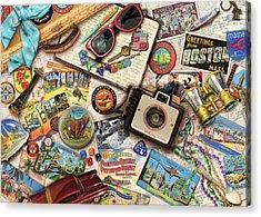 Vintage Usa Travel Acrylic Print by Aimee Stewart