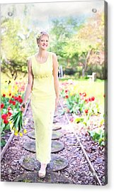 Vintage Val In Tulips Acrylic Print