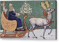 Vintage Victorian Depicting Father Christmas On His Sleigh Acrylic Print