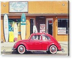 Vintage Vw Bug Surfer Car Acrylic Print by Edward Fielding