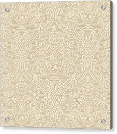 Acrylic Print featuring the digital art Vintage Wallpaper Beige Floral Elegant Damask by Tracie Kaska