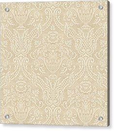 Acrylic Print featuring the digital art Vintage Wallpaper Beige Floral Elegant Damask by Tracie Kaska
