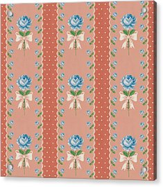 Acrylic Print featuring the digital art Vintage Wallpaper Blue Roses Coral Polka Dots by Tracie Kaska
