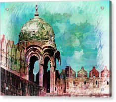 Vintage Watercolor Gazebo Ornate Palace Mehrangarh Fort India Rajasthan 2a Acrylic Print
