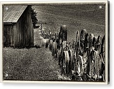Vintage Wheel Fence Acrylic Print by David Patterson