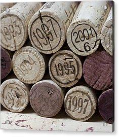 Vintage Wine Corks Square Acrylic Print by Frank Tschakert