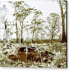 Vintage Winter Car Wreck Acrylic Print